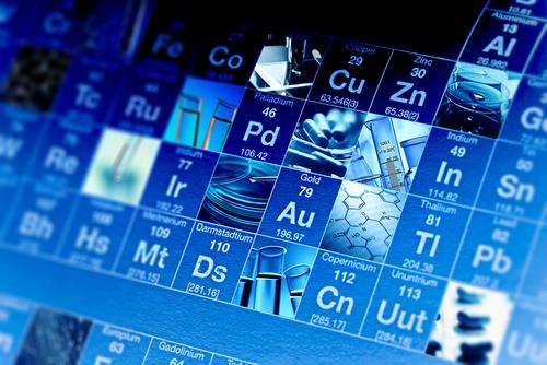 Periodic table of elements and laboratory tools - Women and science